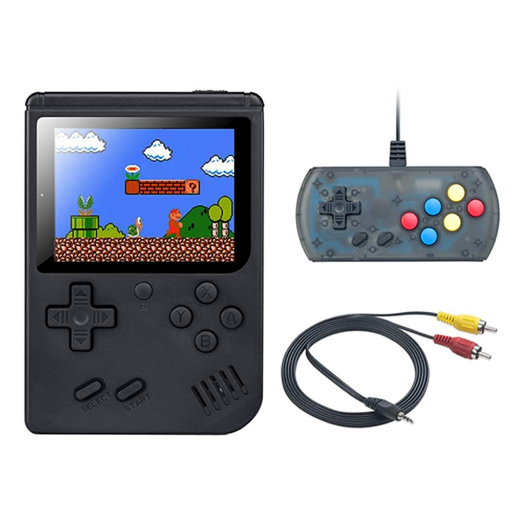 wanjiaxinhui Handheld Game Console, Retro FC Game Console, Portable Video Game Console for Connecting TV and Two Players with 3 Inch LCD Screen 168 Classic Games (Black)