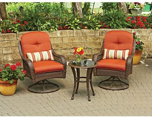 3 Pc Glass top Table Wicker Chairs with Cushions Outdoor Patio Furniture Set Gar 61SFgRpZJIL