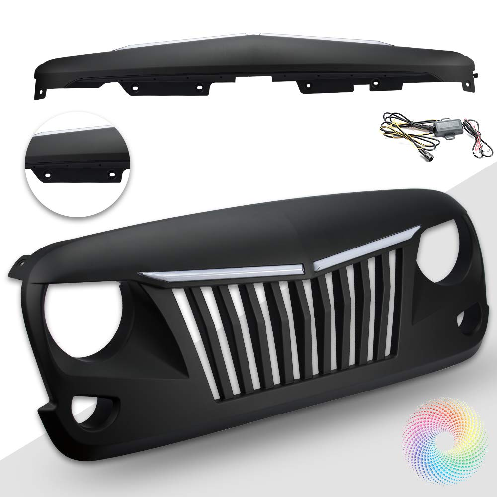 White DRL Amber Turn Signals, Paintable, ABS Matte Black Grille Replacement 2007-18 Rubicon Sahara Sport SUNPIE Jeep Wrangler JK Grill with DRL /& Turn Signal LED Light Bars
