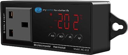 Reptile Terrarium Thermostat Controller 2020 New LED Digital Temperature Controller Outlet Thermostat Heating and Cooling Temperature Controller Reptile Thermostat for Aquarium Reptile 1100W 220V