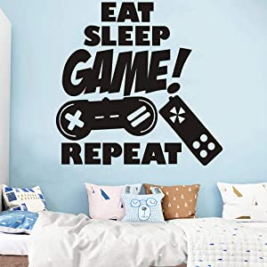 Game Wall Decals Stickers Creative Gaming Quote Poster for Boys Gift,Vinyl Peel and Stick Gamer Decor for Gamer Men's Living Room Play Room Bedroom Home Decoration (Eat Sleep Game Repeat)