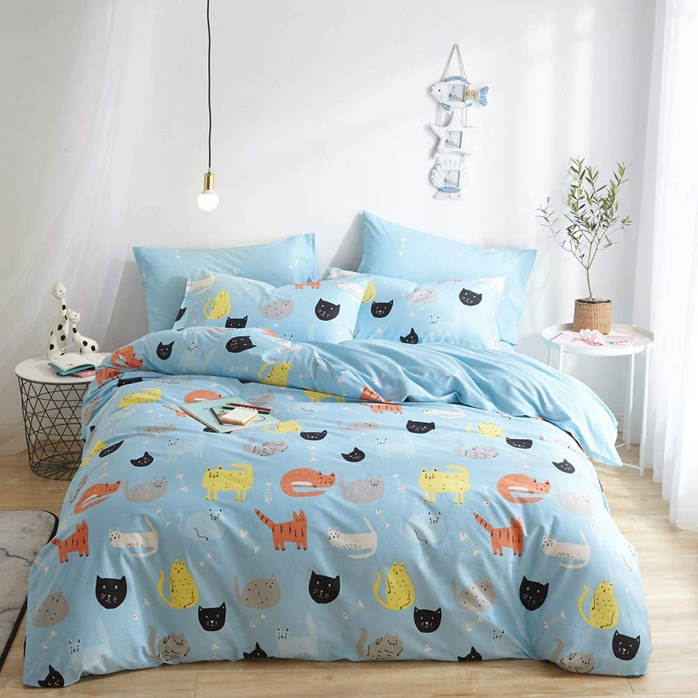 HIGHBUY Kids Cat Bedding Sets Queen Cotton Duvet Cover Set Full 3 Pieces Comforter Cover Set for Teens Boys Reversilbe Blue Cat Pattern Duvet Cover Queen with Zipper Closure,Children Cat Bedding Sets
