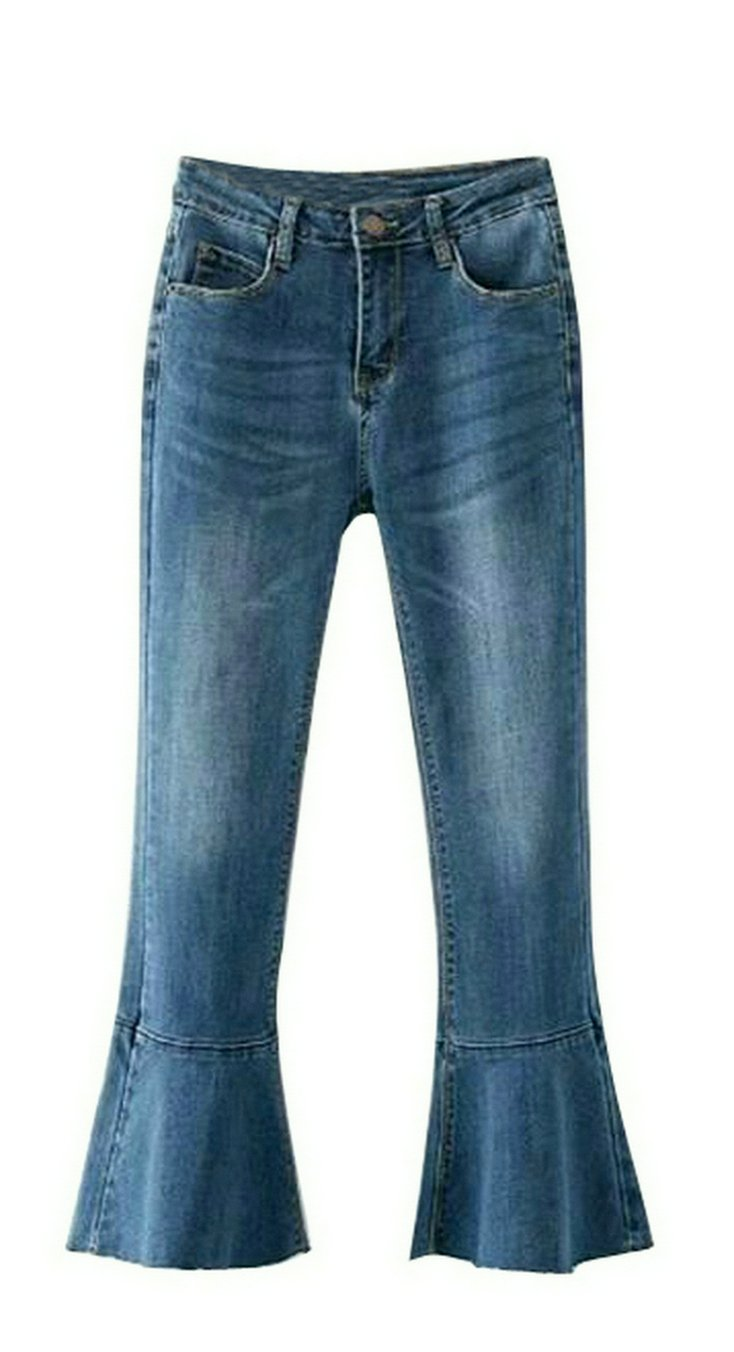 Fensajomon Womens Summer High Waist Stretchy Denim Flares Bell-Bottom Pants Jeans 1 29