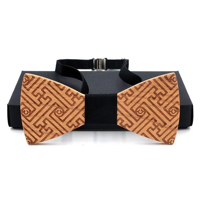 KOOWI La Corbata de Madera Hecha a Mano del Lazo de Madera de Los Hombres Creativos Handcrafted para la Boda o el Desgaste Diario D