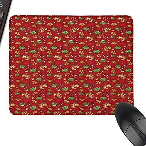 Personalized Mouse Pad Christmas Old Fashioned Celebration Symbols for The New Years Eve Preparations Theme Water-Resistant, Non-Slip Base,15.7