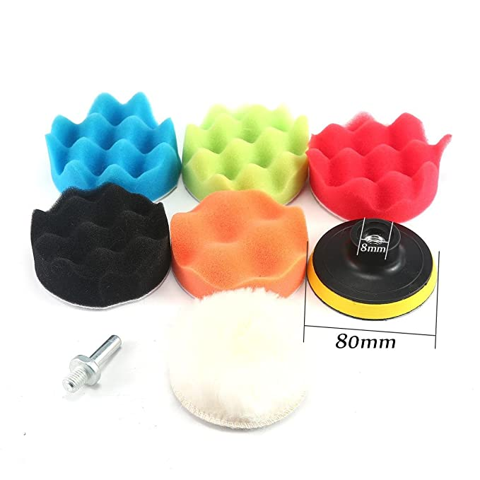 Esponja Pulir para coche,KOBWA Kit de esponja de pulido con adaptador de taladro y almohadillas de cera de lana, juego de 7 almohadillas de pulir para ...