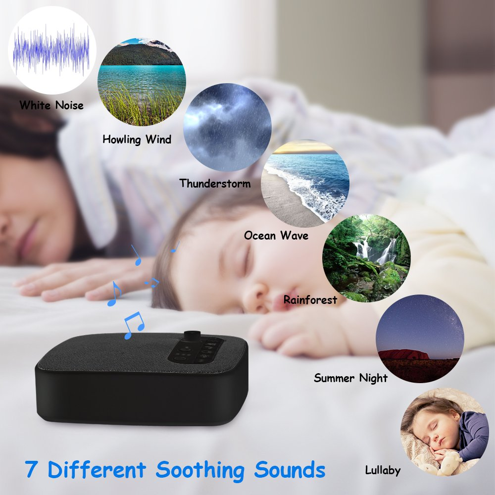 Sleep White Noise Machine, Sencam Baby Sound Machine with Headphone Jack, Insomnia Increase Concentration, 7 Soothing Sounds, 3 Timer Settings, Suitable for Adults, Baby, Sleep, Yoga, Spa, Relaxation