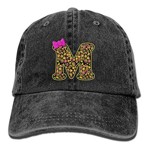 Cute Letter M and Halloween Emoji Denim Hat Mens Funny Baseball Cap -