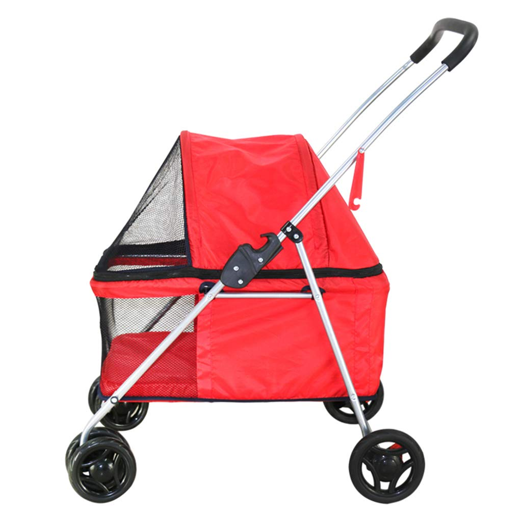 Pet Travel Stroller, Folding Trolley Lightweight,Dog Cart Free Tool Inssizetion,2 Swivel Wheels Multifunction Pushchair Pram Jogger for Puppy Cat Pets,B