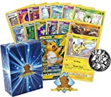 Pokemon 100 Card Lot - Featuring Raichu GX and Pikachu! Foils - Rares and 1 Collectible Coin! Includes Golden Groundhog Box!