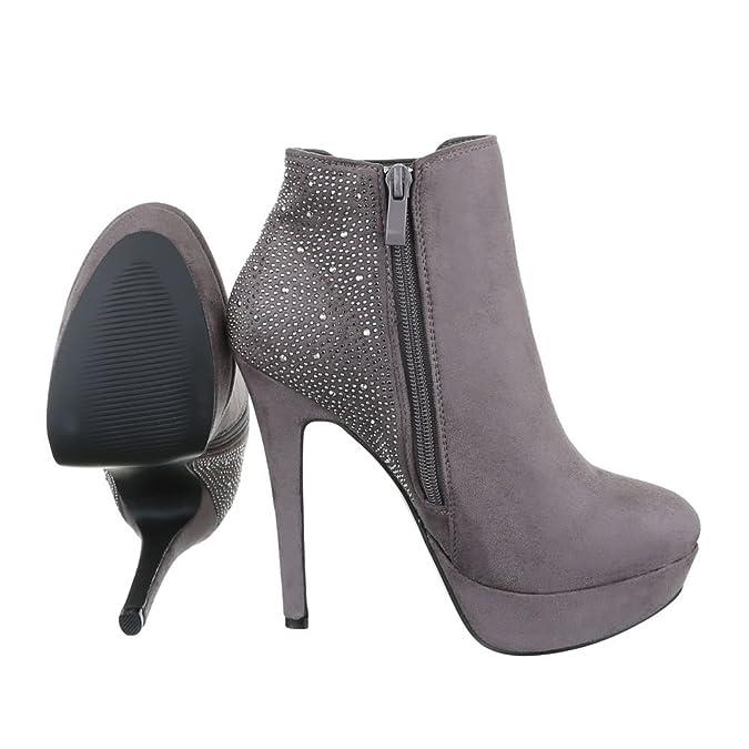 Ital-Design High Heel Stiefeletten Damen-Schuhe Schlupfstiefel Pfennig-/Stilettoabsatz High Heels Reißverschluss Stiefeletten Grau, Gr 37, Ja74-