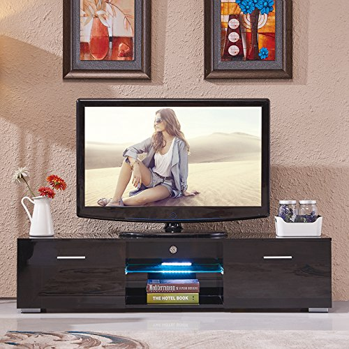 Nurxiovo High Gloss TV Stand Unit Cabinet w/LED Shelves 2 Drawers - 63' Console
