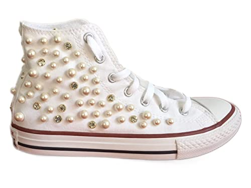 converse bianche strass
