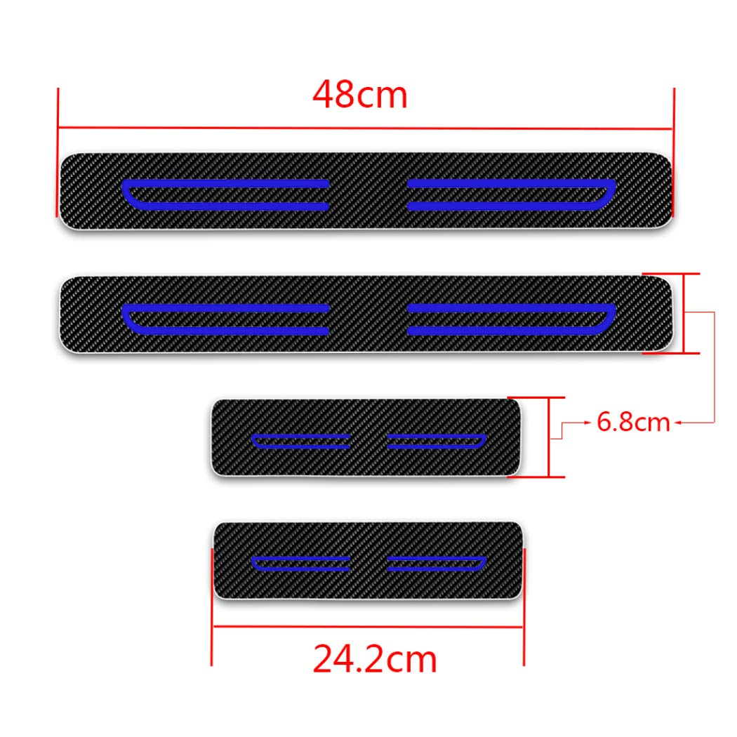 For Toyota Harrier Fortuner Highlander Hilux Izoa Door Sill Protector Reflective 4D Carbon Fiber Sticker Door Entry Guard Door Sill Scuff Plate Stickers Auto Accessories 4Pcs White