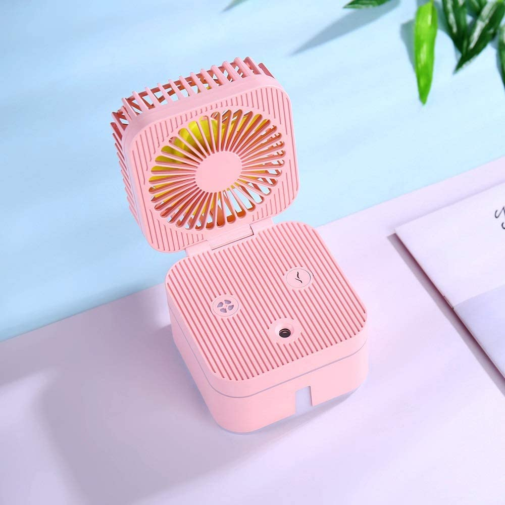 Mini Portable Cooling Fan Mini Desktop Foldable Fan USB Large Capacity Square Cooling Fan Summer Electric Fan Color : Pink