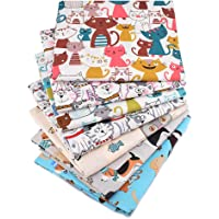 Hanjunzhao Cute Animals Cat Dog Fat Quarters Fabric Bundles 18 x 22 inch for Quilting Sewing Crafting