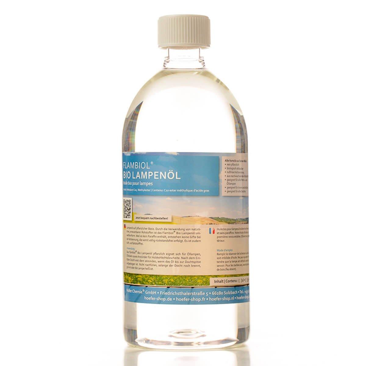 6 x 1 L huile végétale pour lampe Flambiol - FRAIS DE PORT OFFERT - en bouteilles de 1 L Höfer Chemie ®