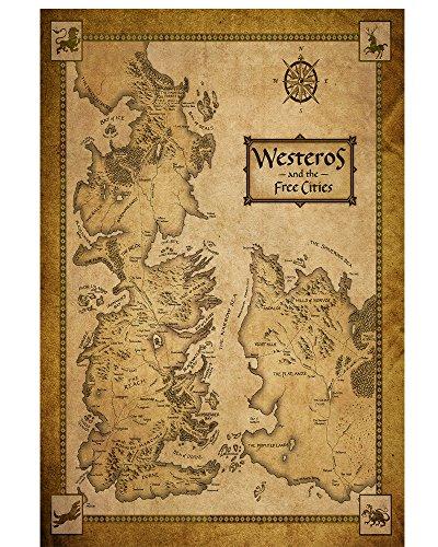 LPStar Game of Thrones Poster Westeros Map on Silk Wall Decor Decals Murals Home Decoration ART SILK FABRIC 20x28 inch GOT
