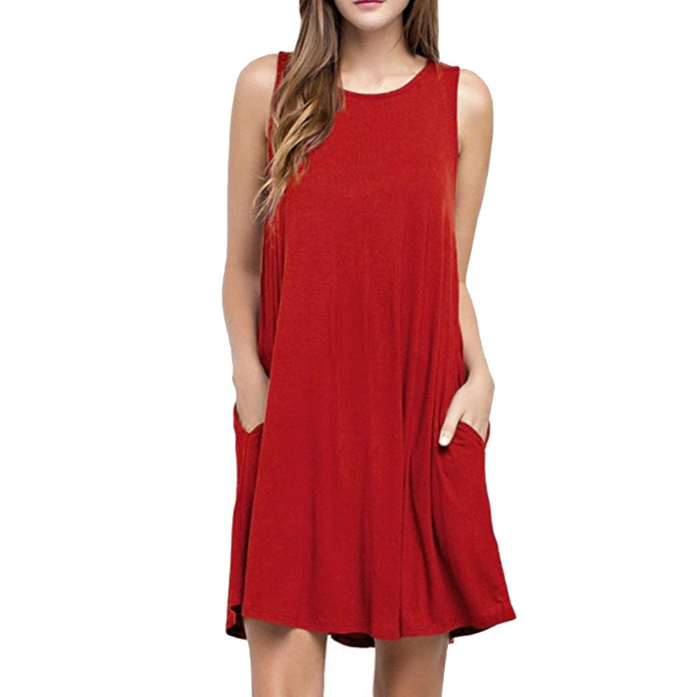 Swing T-Shirt Dress Sundresses for Women, Women O Neck Casual Pockets Sleeveless Above Knee Dress Loose Party Dress Red