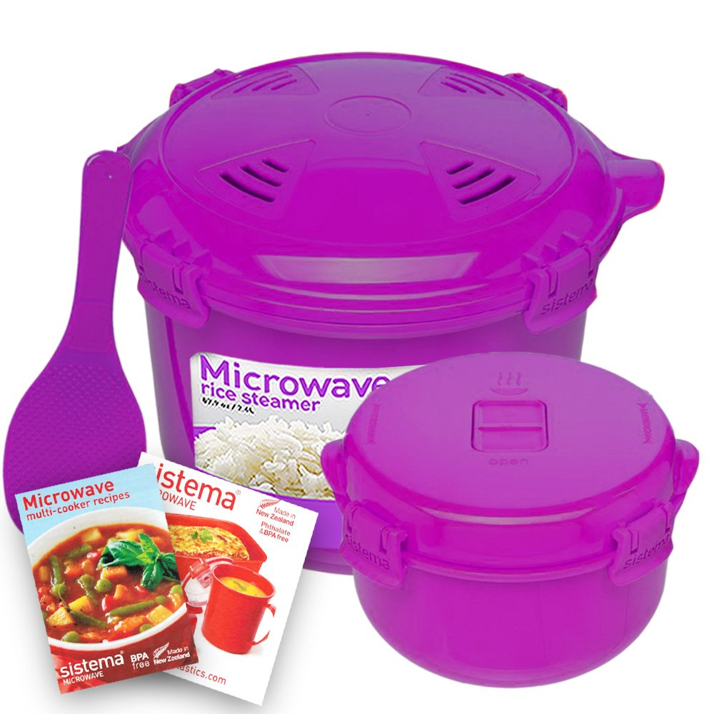 Sistema Microwave Cookware Rice Steamer Set with Lids -- Large Microwave Multicooker, Side Dish Bowl, Spoon and Recipes (BPA Free, 100% Food Safe) (Purple Set)
