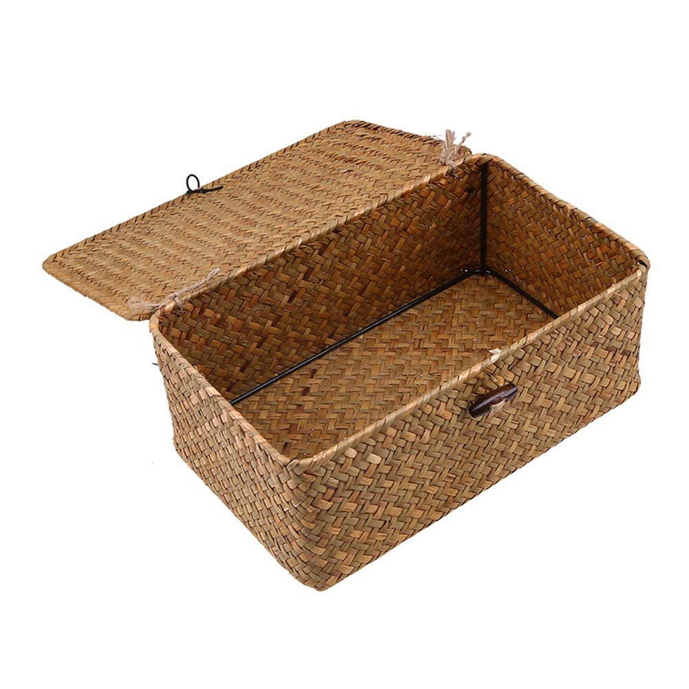 Amazon com gzq storage basket handwoven seagrass wicker home desk organizer bins for stationery book toys snack m home kitchen