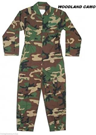 Amazon.com  Woodland Camo Military Style Flight Suit Air Force Style  Fighter Coveralls  Clothing c853ed37a9a