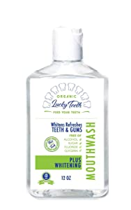 Lucky Teeth Organic Food Grade Peroxide MouthWash - Plus WHITENING - Whitens, Refreshes. Food Grade Peroxide + Essential Oils.