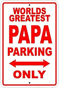 "Cloud Jackgold Vintage Decor World's Greatest Papa Parking Only Sign Gift Wall Novelty Aluminum 8""x12"" Original Country Home Decor"