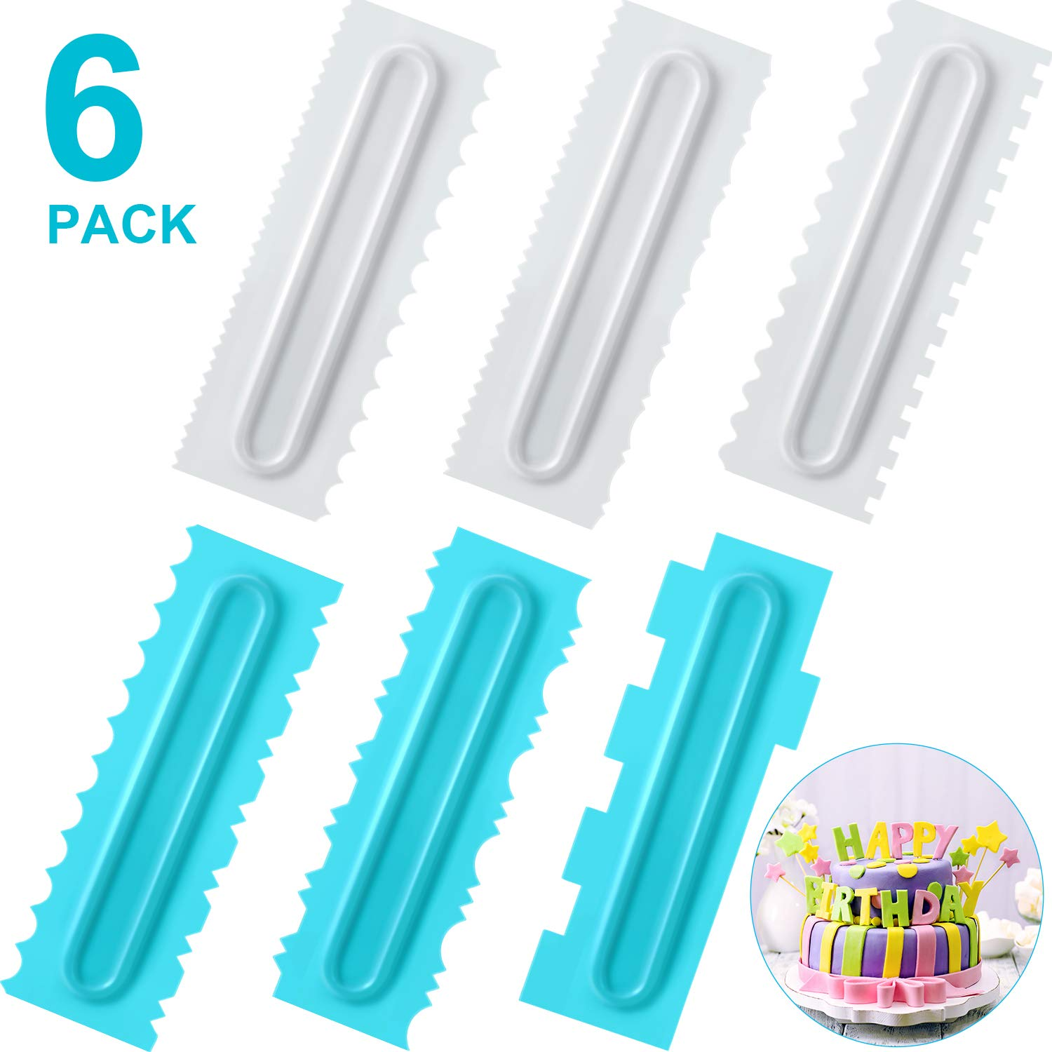 Cake Scraper Set of 6, Decorating Comb and Icing Smoother, Plastic Sawtooth Cake Scraper Polishe, Decorating Butter Mousse Cream Cake Edge Kitchen Baking Mold DIY Tool by Boao