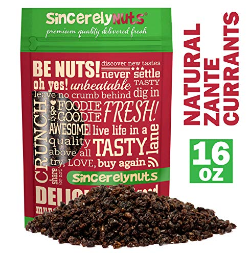 Sincerely Nuts Currants (1 LB) - Zante Currants - Dried Grapes - Black Corinth-Sweet Flavor Addition to Many Meals - Vegan & Kosher ()