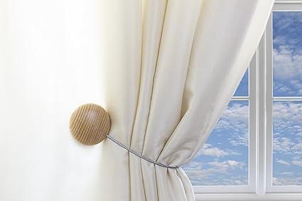 MagnaClips Set Of 2 Magnetic Curtain Tiebacks Or Holdbacks Wood Buckle Clips Leno