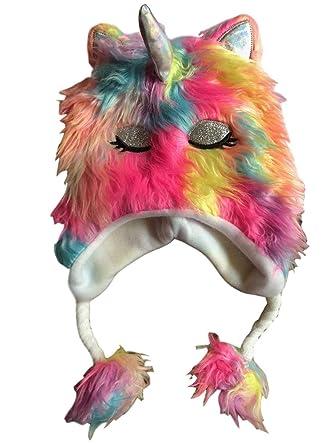 b3807b811e3 Amazon.com  Unicorn Hat for Girls 3D Rainbow Faux Fur Winter Cold Weather   Clothing