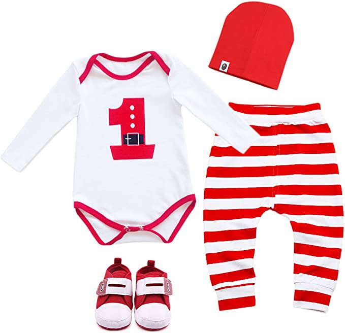 sunnymi for 0-18 Months Kids 3Pcs Fashion Cute Newborn Infant Toddler Baby Girl Boy Short Sleeve Romper Tops+Pants+Hat Christmas Outfit Clothes Set
