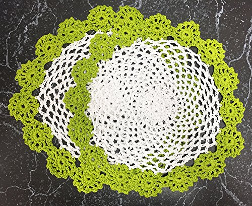 - Fennco Styles Handmade Two Tone Floral Crochet Tray Cloth Doily, 9-inch Round, 2 Pieces, 7 Colors (Lime Green)