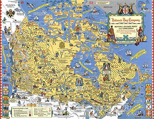 Historic Map | Hudson's Bay Company : Historic trading posts 1969, Historic Map | Vintage Wall Art | 24in x 18in