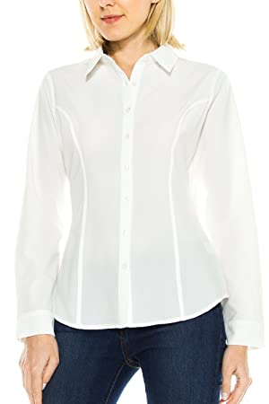 KLKD Women's Basic Long Sleeve Waist Emphasizing Button Down Blouse Top Ivory XX-Large