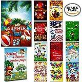 Seasonal Garden Flags set 10 pcs + BONUS 2 pcs flags - 12 ''x 18'' Holiday Yard Flags Set and Festive small Garden Flag, by Best Price & Quality