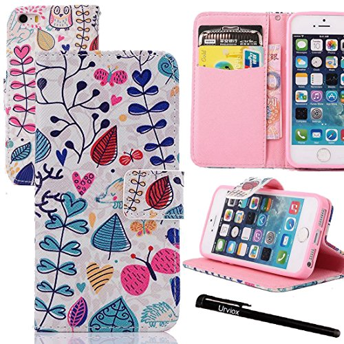 Urvoix(TM PU Leather Wallet Credit Card Holder Flip Stand Painting Case Cover for Apple iPhone 5 5S