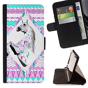 Devil Case- Estilo PU billetera de cuero del soporte del tir¨®n [solapa de cierre] Cubierta FOR Samsung Galaxy Note 4 SM-N910 N910 IV- Aztec Moustache Nebula Tribal Horse