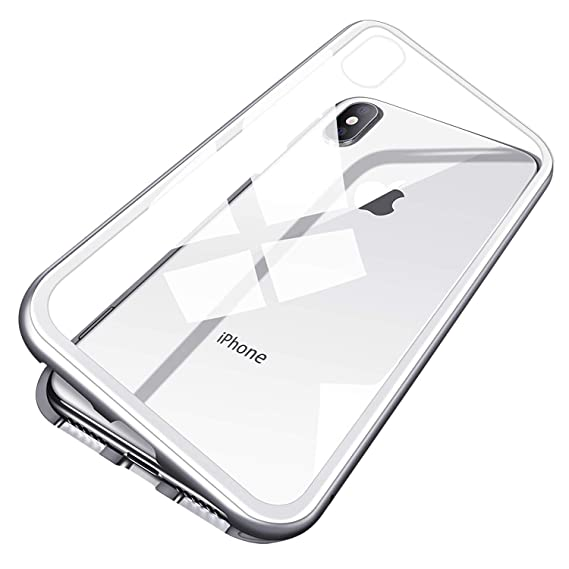 new styles ff109 80b95 iPhone X Case, MISSCASE Ultra Slim Magnet Protective Case with Metal Frame  Tempered Glass Back [Magnetic Adsorption Technology] [Support Wireless ...