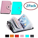 48pcs Transparent Plastic Vertical ID Credit Card Holder Protector Sleeve for Women's and Girl Mini Unisex Small Leather 2 Pack (Pink Blue)