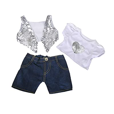 "Silver Sequined Vest & Shirt w/Denim Pants Teddy Bear Clothes Fits Most 14""-18"" Build-a-Bear and Make Your Own Stuffed A: Toys & Games"
