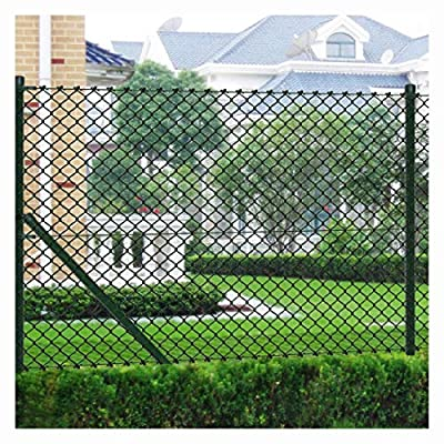 """K&A Company Fence Panel, Chain Fence 2' 7"""" x 49' 2"""" Green with Posts & All Hardware"""