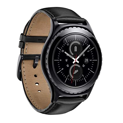 LINKWOW Compatible with Samsung Gear S2 Classic/Galaxy Watch42MM Armband,20MM Genuine Leather Smart Watch Replacement Band Strap with Stainless Steel ...