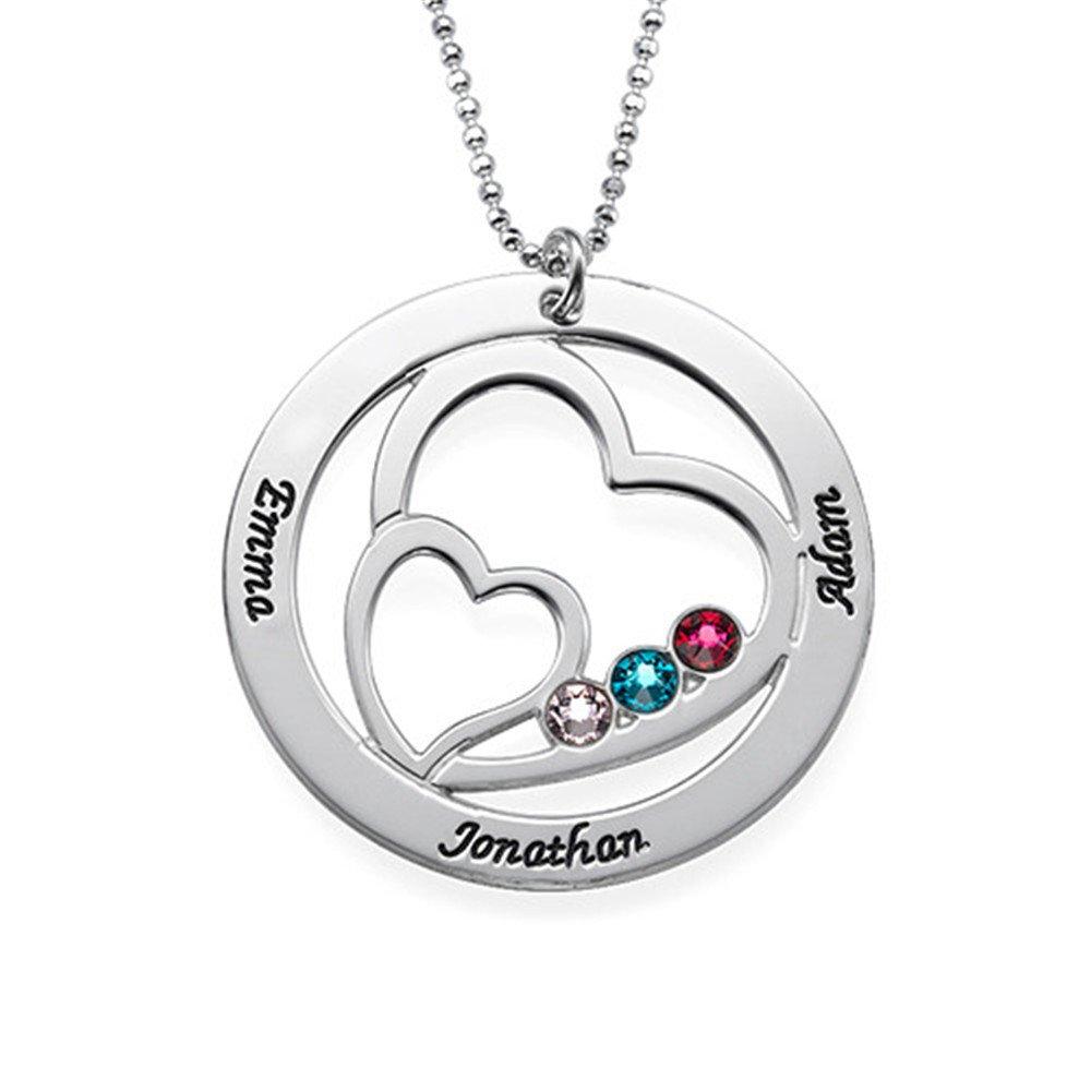 KIKISHOPQ Inlaid Double Heart Name Birthstone Custom Necklace Halloween