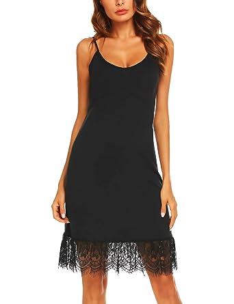 c5fa48826f08 Zeagoo Women's Lace Trim Ruffle Camisole Slip Top Tank Dress Extender Black  Small