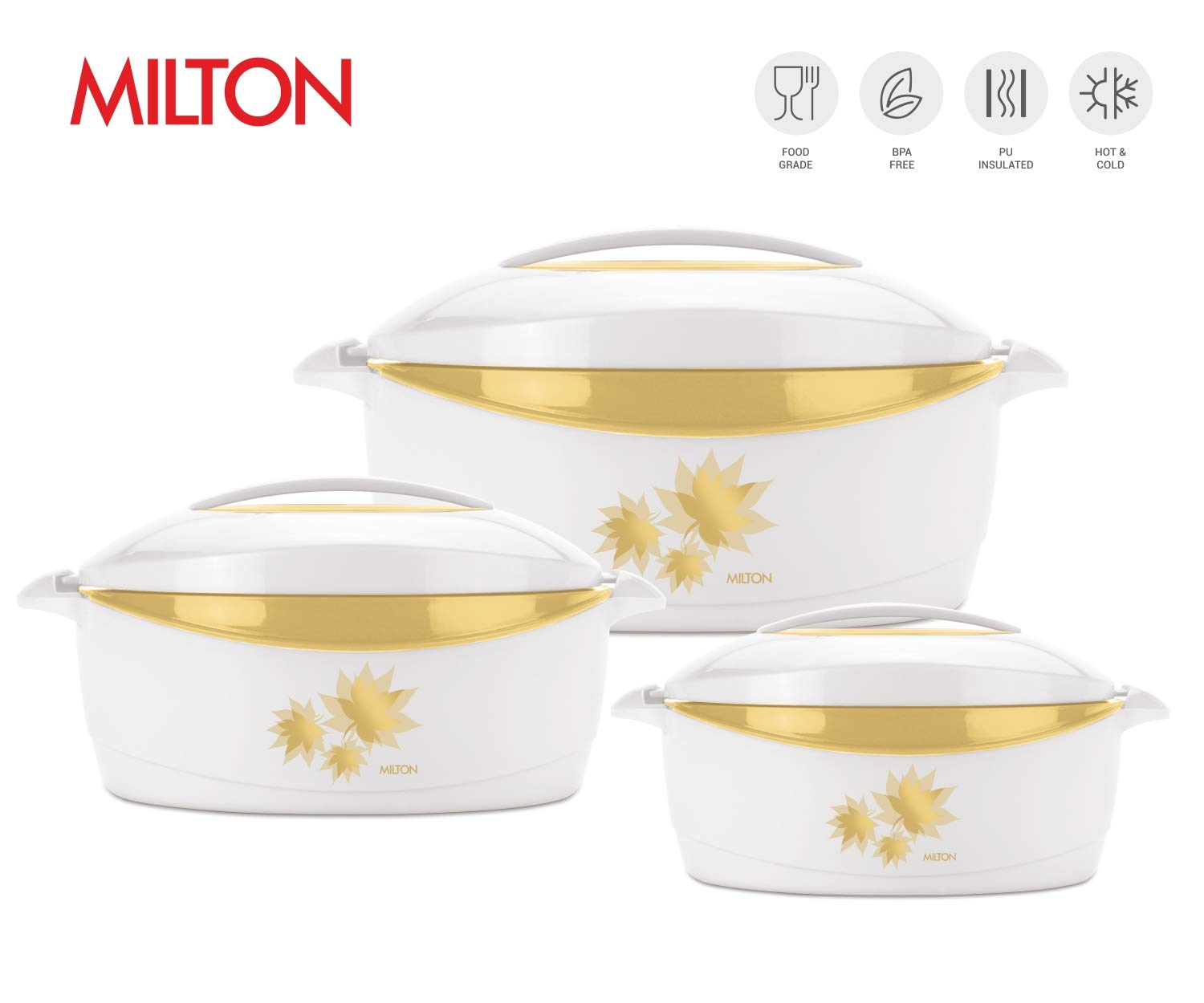 Milton Trumph 3 pc set (34oz/50oz/84 oz) Insulated Hot Pot/Casserole/Serving Bowl with Lid & Stainless Steel Inner - Keep food Hot/Cold upto 4-6 hrs (White/Gold) by MILTON