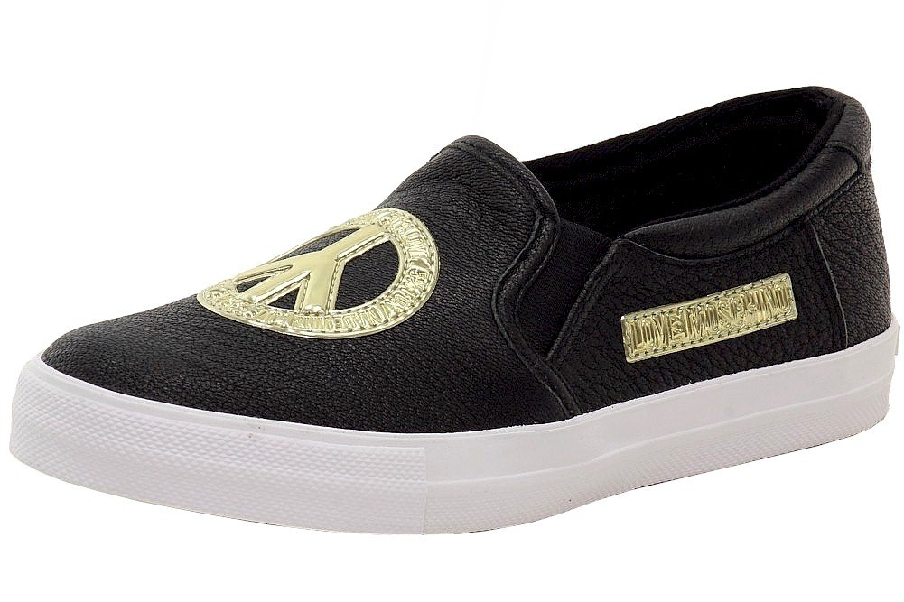 Love Moschino Women's Pebbled Black/Gold Peace Slip-On Sneakers Shoes Sz: 36