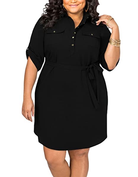 Lalagen Women\'s Casual Half Sleeve Belted Plus Size Shirt Dress