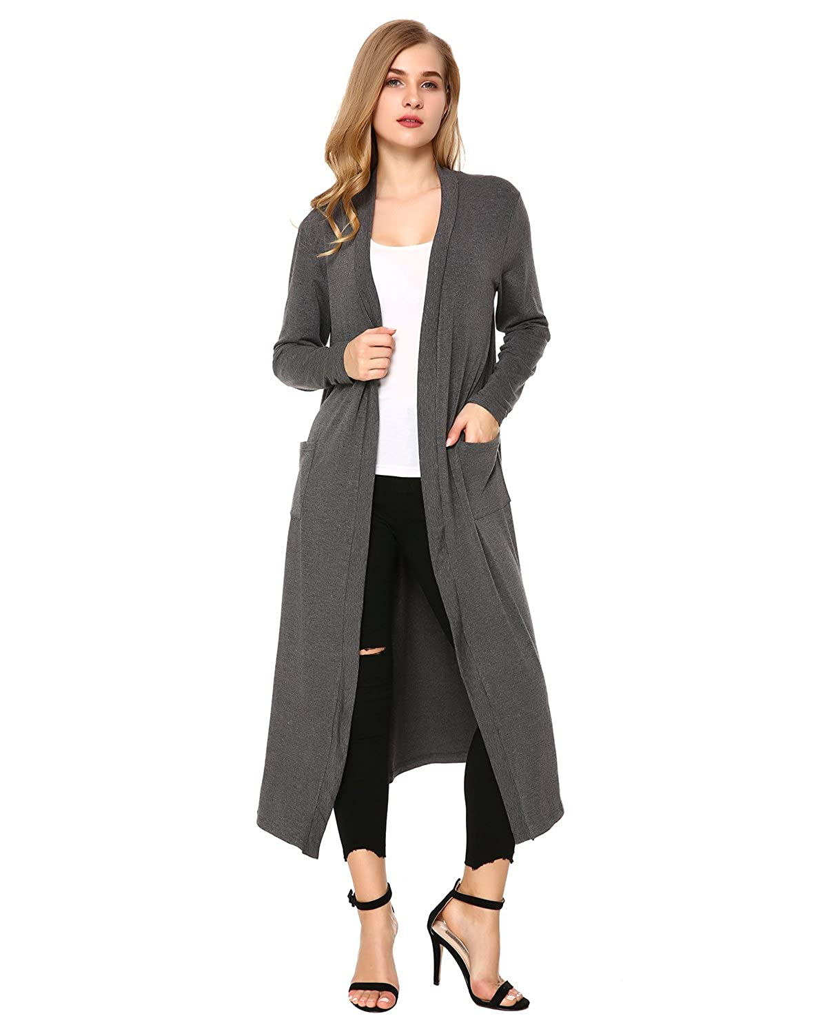 9d95fc4d2a5 Mixfeer Womens Long Sleeve Open Front Long Maxi Cardigan Longline Duster  Coat at Amazon Women s Clothing store